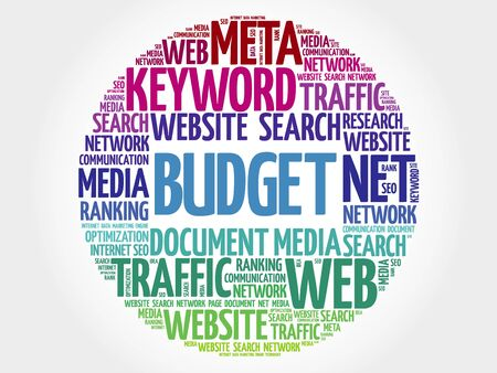 financial condition: BUDGET word cloud, business concept Illustration