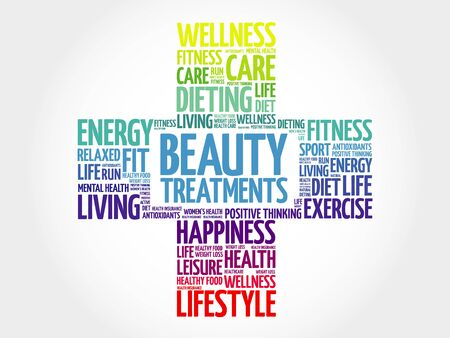 spa collage: Beauty Treatments word cloud, health cross concept Illustration