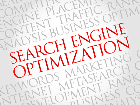 technology collage: SEO - search engine optimization word cloud, business concept