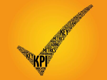 objectives: KPI - Key Performance Indicator check mark, vector business concept words cloud Illustration