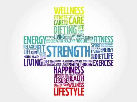 strength: Strength word cloud, health cross concept Illustration