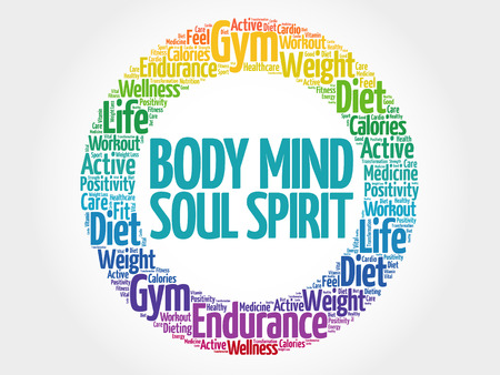 Body Mind Soul-Geist-Kreis Stempel Wortwolke, Gesundheitskonzept