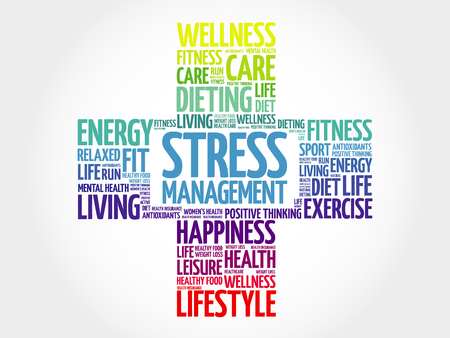 live feeling: Stress Management word cloud, health cross concept