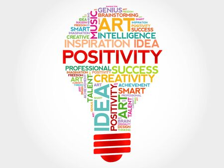 positivity: Positivity bulb word cloud concept Illustration