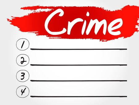 business crime: CRIME blank list, business concept