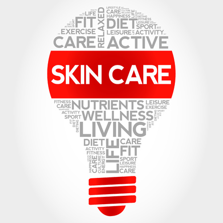 Skin care bulb word cloud, health concept