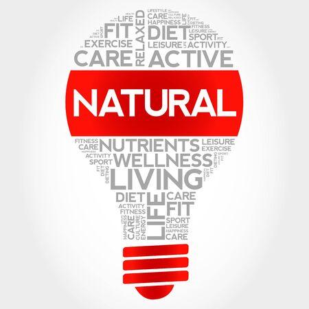 increase fruit: NATURAL bulb word cloud, health concept