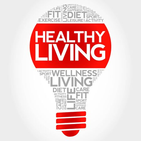 healthy living: Healthy Living bulb word cloud, health concept Illustration
