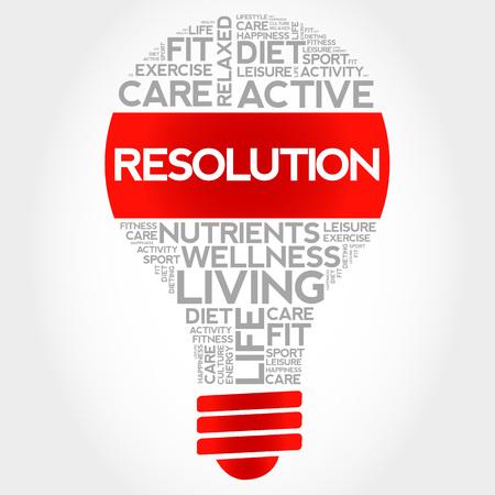 RESOLUTION bulb word cloud, health concept Illustration