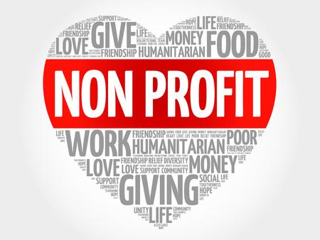 Non Profit word cloud, heart concept