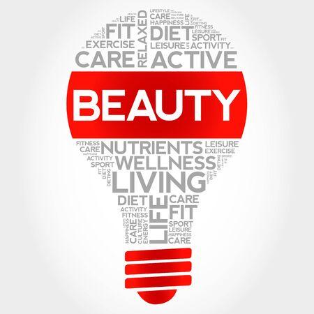light complexion: BEAUTY bulb word cloud, health concept