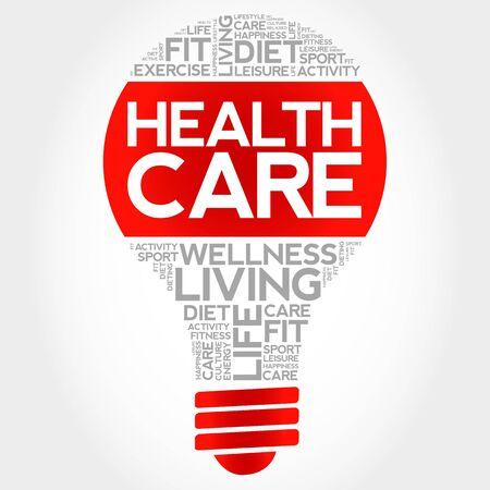 surgery expenses: Health care bulb word cloud, health concept