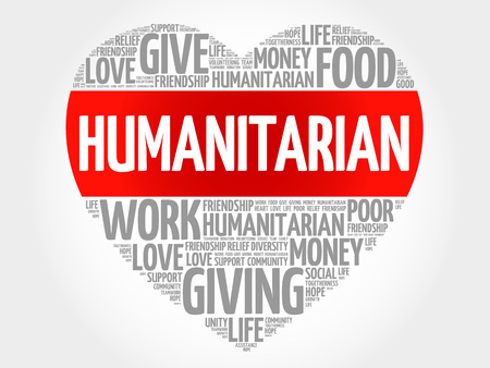 charity and relief work: Humanitarian word cloud, heart concept Illustration