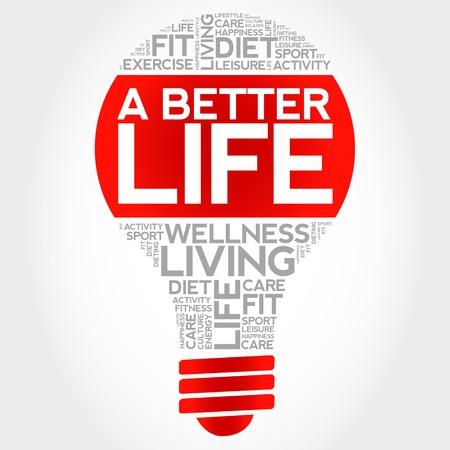 better: A Better Life bulb word cloud, health concept