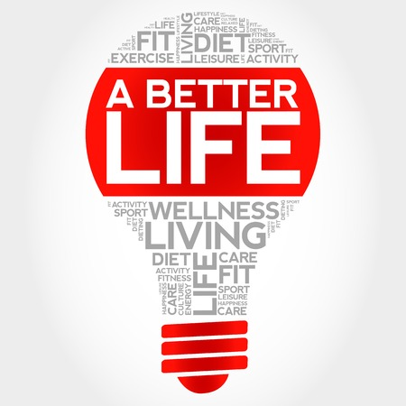 joyous life: A Better Life bulb word cloud, health concept