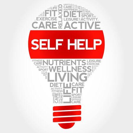 Self Help bulb word cloud, health concept