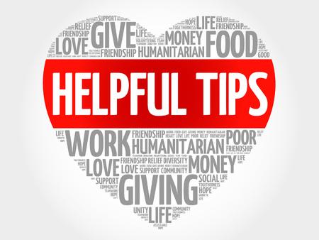 gratuity: Helpful tips word cloud, heart concept