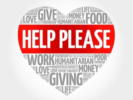 need help: Need help word cloud, heart concept