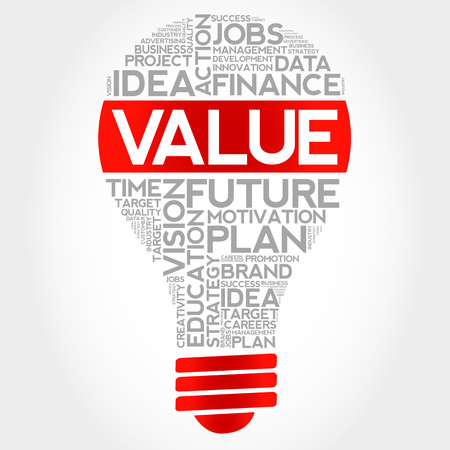 conduct: VALUE bulb word cloud, business concept