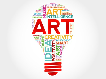 webdesigner: ART bulb word cloud concept