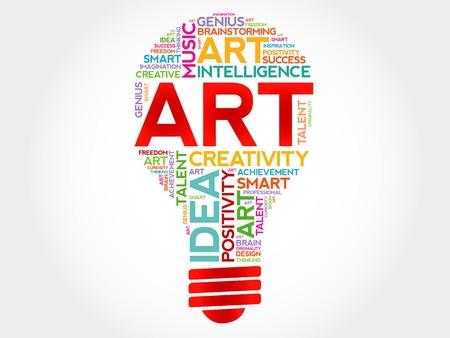 disciplines: ART bulb word cloud concept