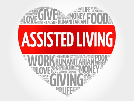 assisted: Assisted Living word cloud, heart concept Illustration