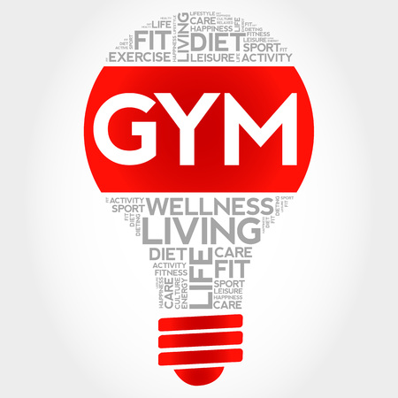 word clouds: GYM bulb word cloud, health concept