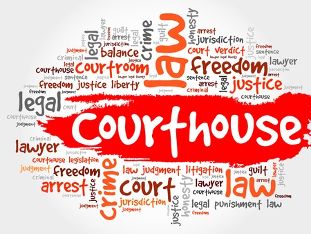 trial balance: Courthouse word cloud concept Illustration