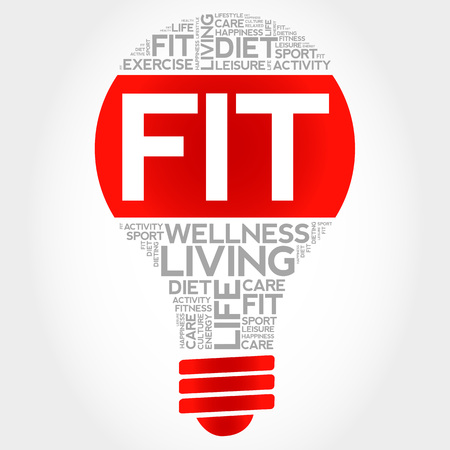 consonance: Fit bulb word cloud, health concept