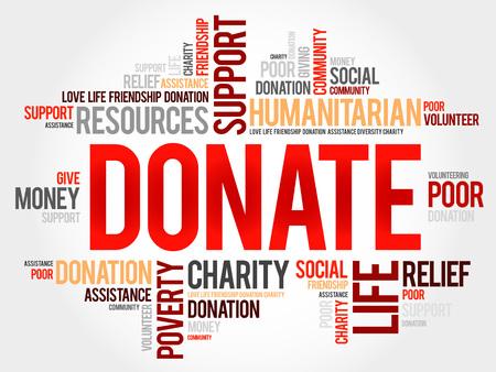 charitable: Donate word cloud concept Illustration
