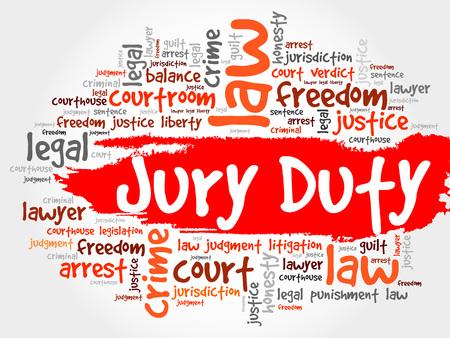 jurado: Jury Duty concepto de nube de palabras Vectores