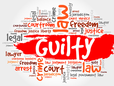 guilty: Guilty word cloud concept Illustration