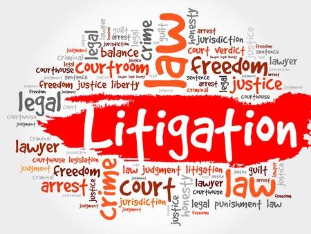 litigation: Litigation word cloud concept Illustration