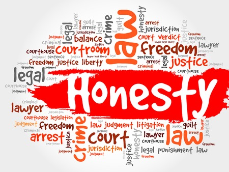 decency: Honesty word cloud concept Illustration