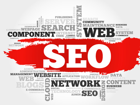 word cloud: SEO (search engine optimization) word cloud business concept