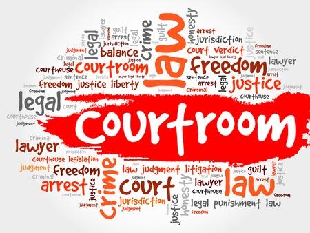 courtroom: Courtroom word cloud concept Illustration