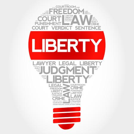 legitimate: Liberty bulb word cloud concept Illustration