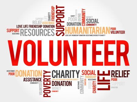Voluntarios concepto de nube de palabras