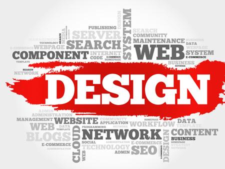 dynamic html: DESIGN word cloud, business concept Illustration