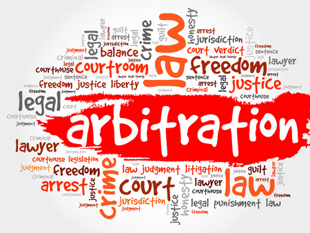arbitration: Arbitration word cloud concept Illustration