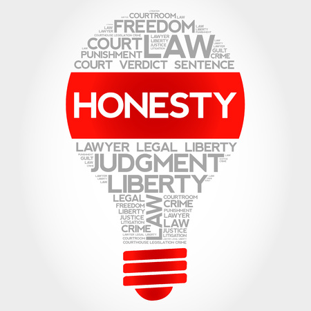 decency: Honesty bulb word cloud concept Illustration