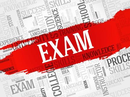 examiner: EXAM. Word education collage