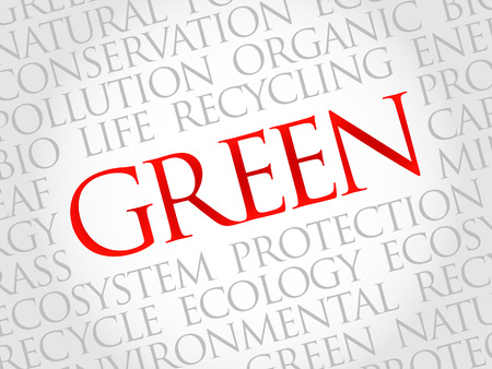 technology collage: Green word cloud, environmental concept