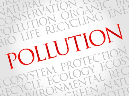 contaminant: Pollution word cloud, environmental concept Illustration