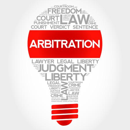 tribunal: Arbitration bulb word cloud concept