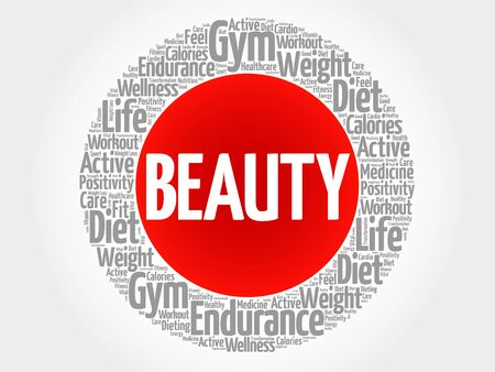 spa collage: BEAUTY circle stamp word cloud, fitness, sport, health concept Illustration