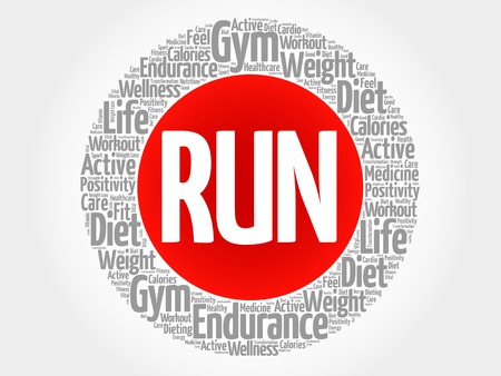 destress: RUN circle stamp word cloud, fitness, sport, health concept