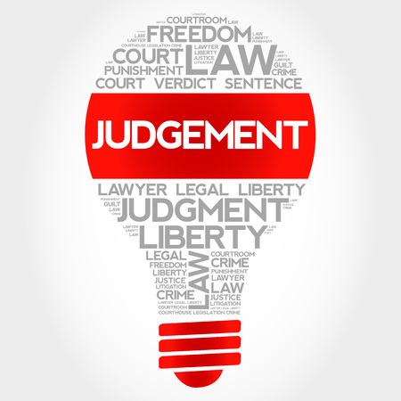 arbitration: Judgement bulb word cloud concept Illustration