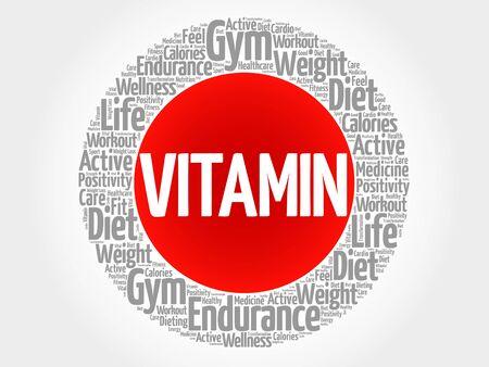 ascorbic: VITAMIN circle stamp word cloud, fitness, sport, health concept