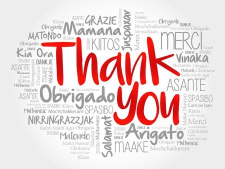 idiomas: Gracias nube de la palabra, todos los idiomas Vectores